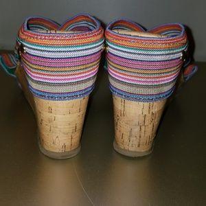 4c46f93d3374 Madden Girl Shoes - Madden Girl rainbow criss cross cork wedges